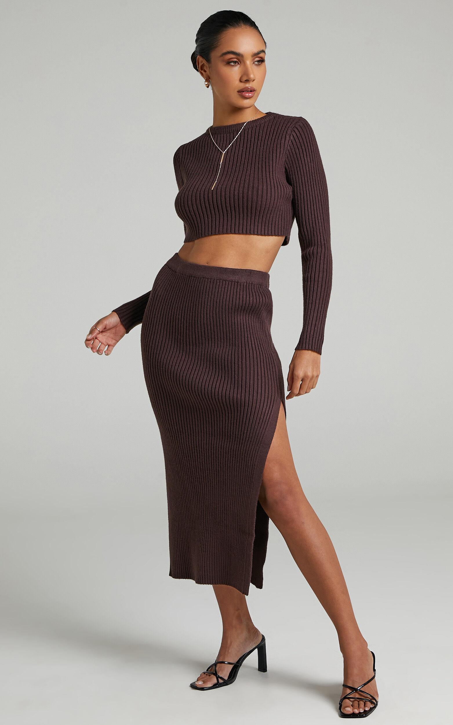 Kodah Knit Skirt in Chocolate - 06, BRN2, super-hi-res image number null