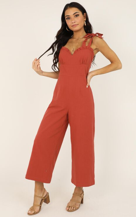 Spicy Girl Jumpsuit In Rust