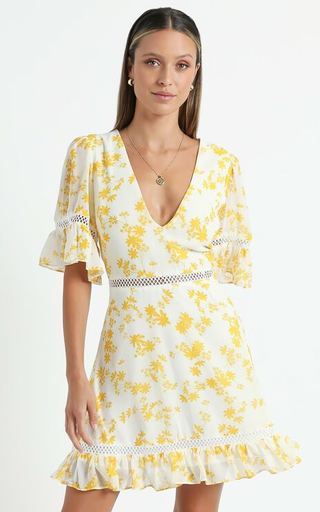 My Darkest Night Dress in Yellow Floral