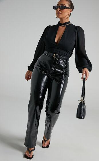 Ashton Straight Leg PU Pants in Black