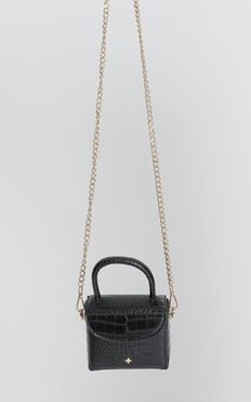 Peta and Jain - Georgia Mini Chain Bag In Black Croc