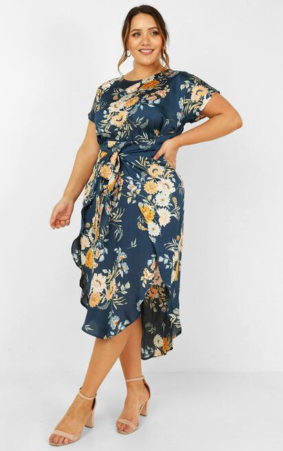 Woman in Power dress in navy floral - 20 (XXXXL), Navy, hi-res image number null