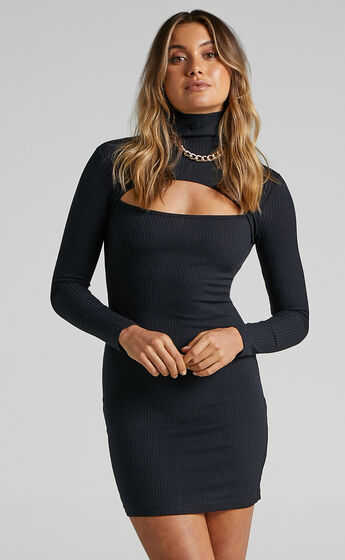 Bryce Cut Out Ribbed Mini Dress in Black