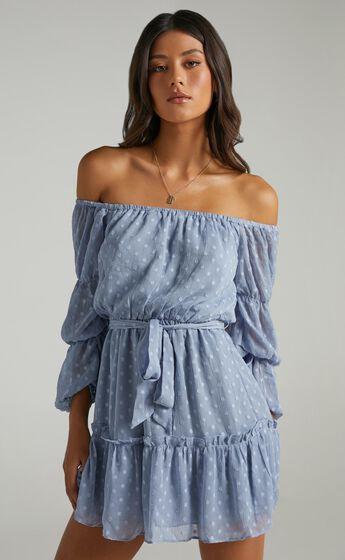 Party Life Off Shoulder Mini Dress in Light Blue