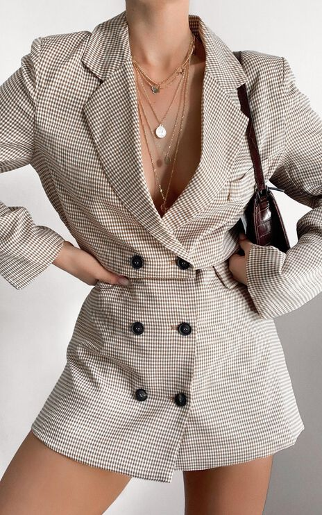 Lioness - Moulin Rouge Blazer Dress in Beige Check