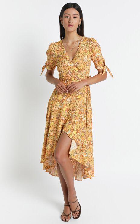 Peta Wrap Dress in Rustic Floral