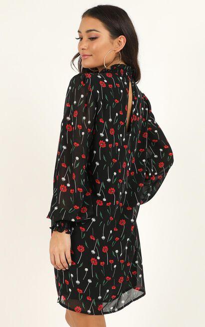 Midnight Skies Dress in black floral - 20 (XXXXL), Black, hi-res image number null