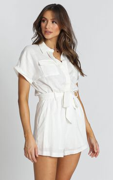 Zarina Belted Playsuit In White