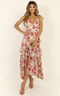 Chasing Sun Ruffle Dress In Rose Floral