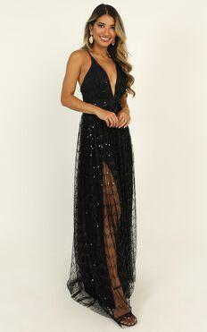 First Kiss Maxi Dress In Black Glitter