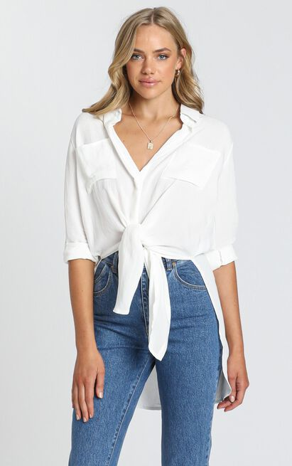 Trish Button Up Shirt In White - 8 (S), White, hi-res image number null