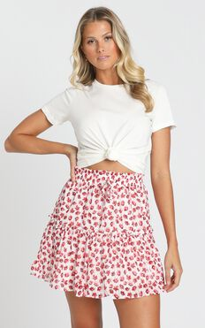 Flower Time Is Now Skirt in Red Floral Chiffon
