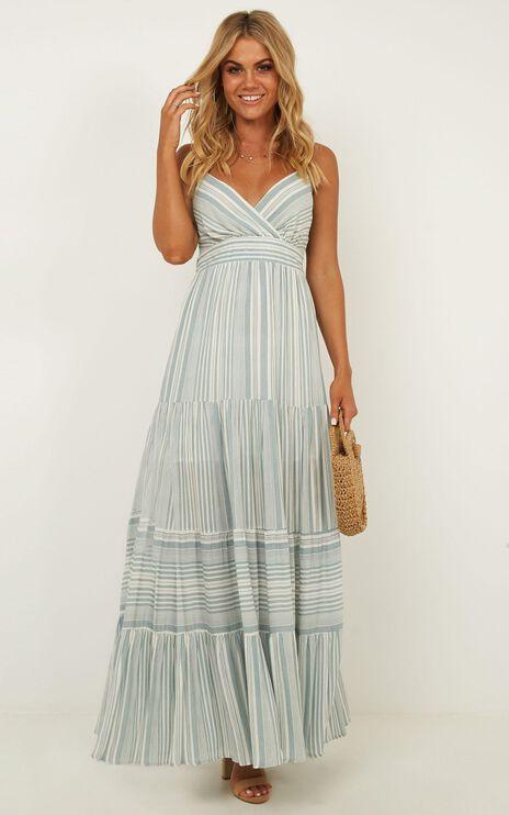 Whats It Gonna Take Dress In Sage Stripe