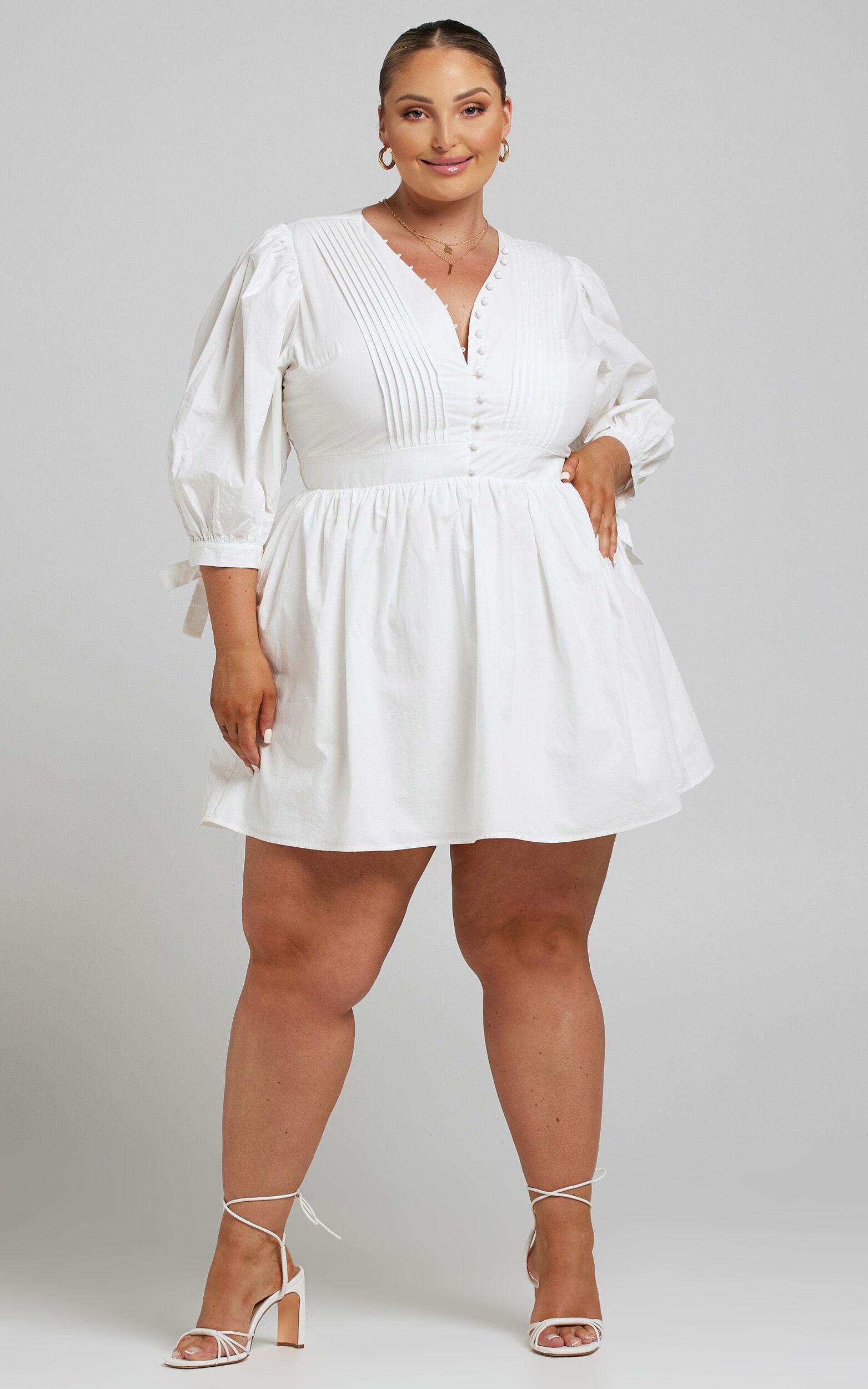 Zandra Puff Sleeve Poplin Mini Dress in White - 04, WHT5, super-hi-res image number null