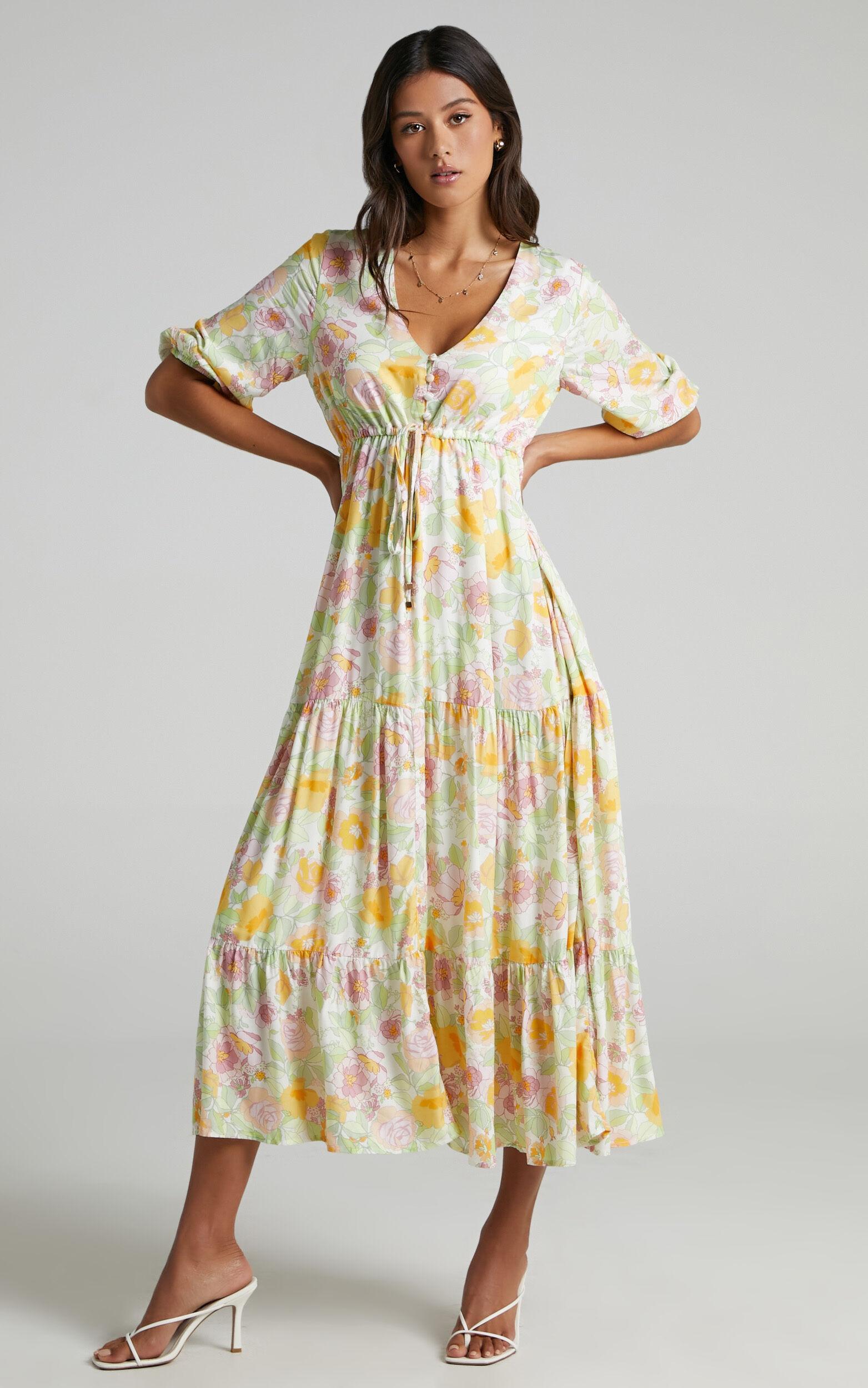 Lilibelle Dress in Linear Floral - 06, WHT2, super-hi-res image number null