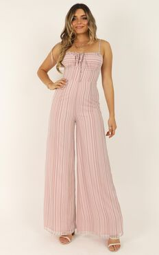 Hopscotch Jumpsuit In Blush Stripe