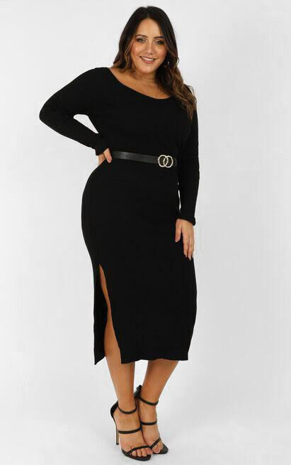 Living For It Knit Dress in black - 20 (XXXXL), Black, hi-res image number null