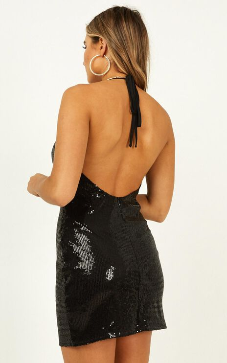 Strong Emotions Dress In Black Sequin