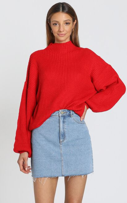 I Feel Love Oversized Knit Jumper in red - 20 (XXXXL), Red, hi-res image number null
