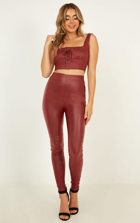 Fall Back Two Piece Set in Wine Leatherette