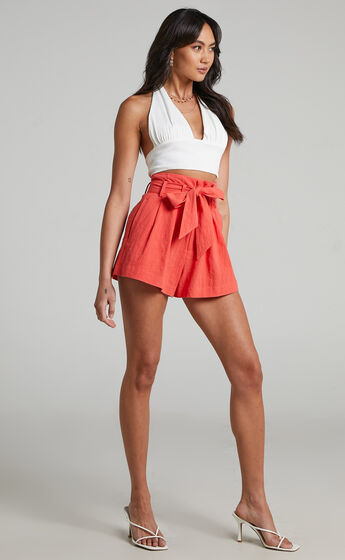 Ellen High Waisted Front Tie Shorts in Tangerine