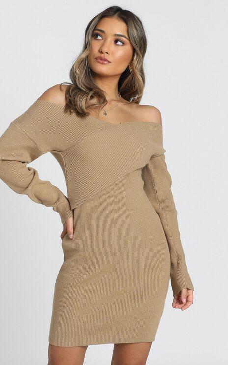 Unlocked Knit Dress in Camel