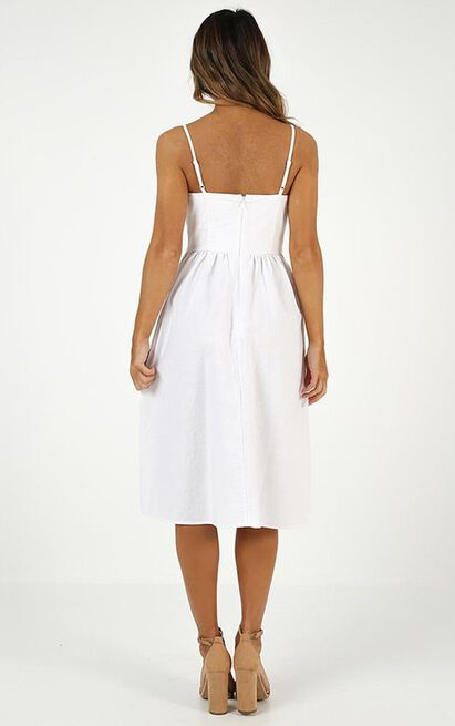Keep You Happy Dress in white linen look - 12 (L), White, hi-res image number null