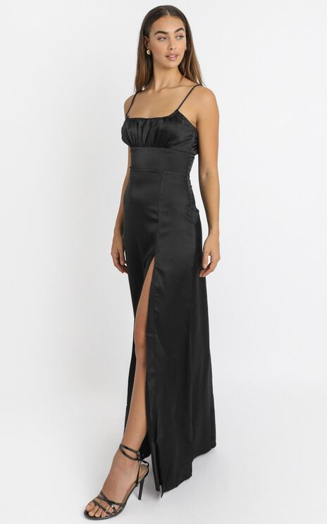 Simply Want You Dress in black satin