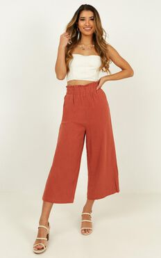 Sunny Times Pants In Rust Linen Look