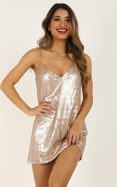 Nights In Vegas Dress In Champagne Sequin