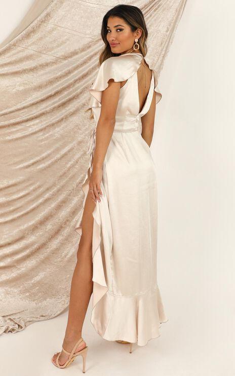 Wrap It Dress In Champagne Satin