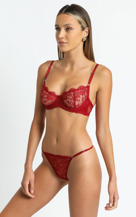 Kat The Label - Maverick Underwire Bra in Red Lace