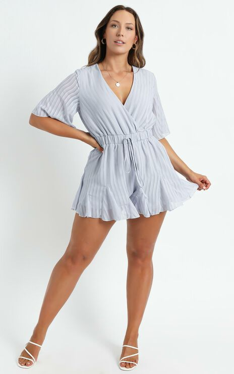 Play On My Heart Playsuit In Light Blue