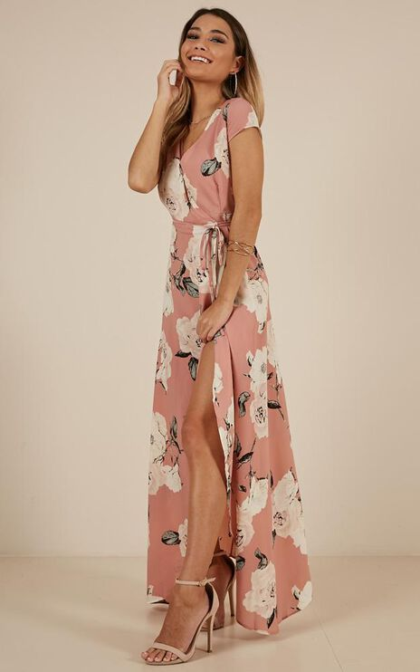 Wrap And Cross Maxi Dress In Dusty Pink Floral