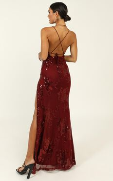 Out Till Dawn Dress In Wine Sequin