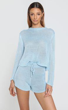 Lenka Knit Two Piece Set in Blue