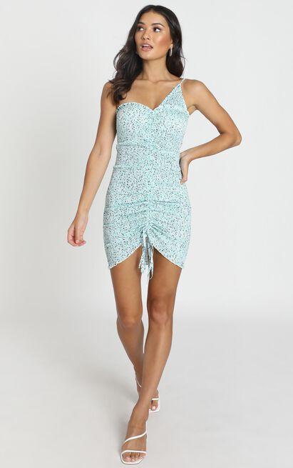 Indi Ruched Mini Dress in sage floral - 12 (L), Sage, hi-res image number null