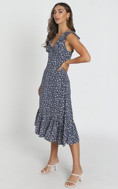 Livia Frilled Maxi Dress In Navy Floral