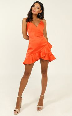 Cloud Cover Dress In Tangerine Satin