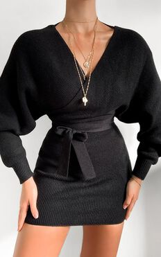 Dont Fall Down Knit Dress in Black