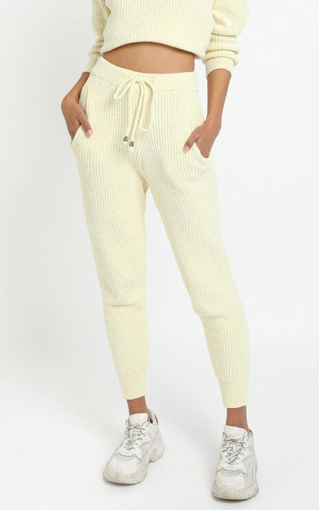 Tabitha Knit Pants in Pastel Yellow