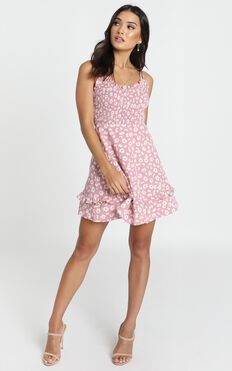 Serenity Shirred Bodice Mini Dress In Pink Floral