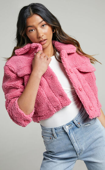 Cha Chi Button Up Teddy Jacket in Pink