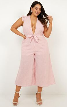 Book Me In Jumpsuit In Pink Stripe