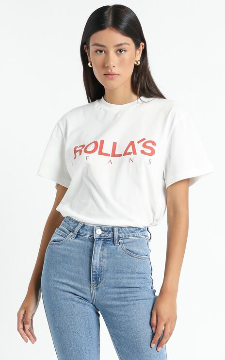 Rollas - Tomboy Classic Logo Tee in Faded Red