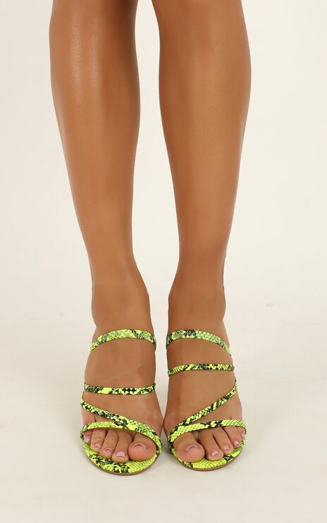 Billini - Devana Heels In Neon Yellow Snake