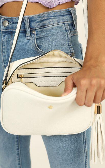 Peta and Jain - Gracie Shoulder Bag In White Pebble , White, hi-res image number null