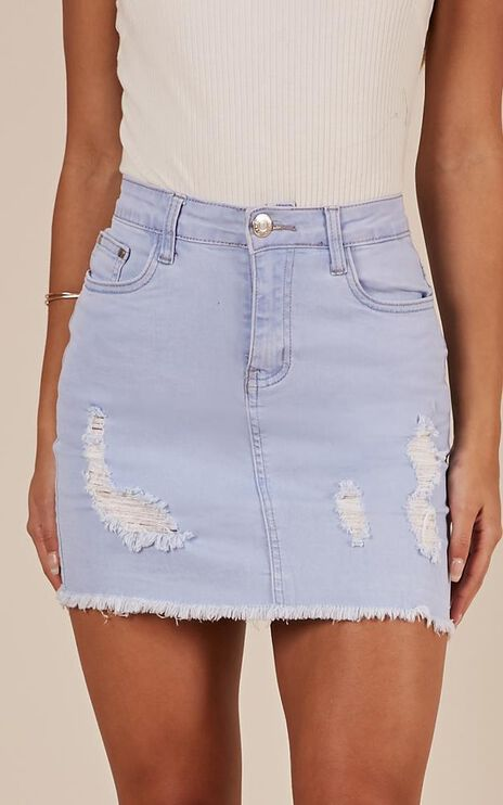 Malibu Sunset Denim Skirt In Light Wash
