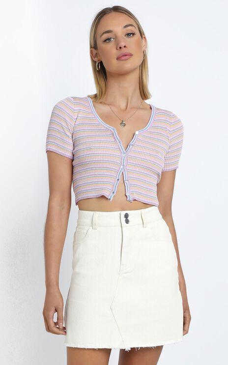Hilary Denim Skirt in Beige