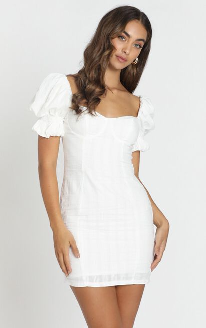 Anders Mini Dress In White, White, hi-res image number null